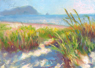 Blue And Red Painting - Seaside Afternoon by Talya Johnson