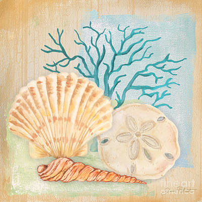 Sand Dollar Painting - Seaside Dream-a by Jean Plout