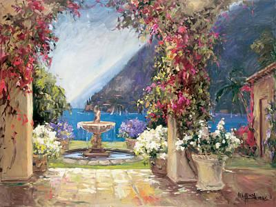 Lake Como Painting - Seaside Fountain by Allayn Stevens