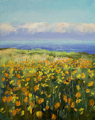 Impasto Oil Painting - Seaside Poppies by Michael Creese