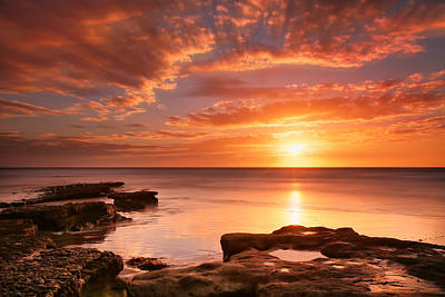 Long Exposure Photograph - Seaside Reef Sunset 15 by Larry Marshall