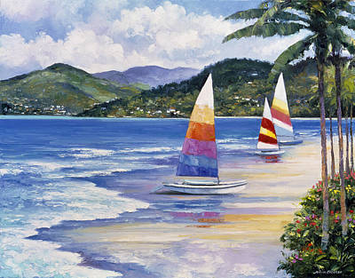 Pallet Knife Painting - Seaside Sails by John Zaccheo