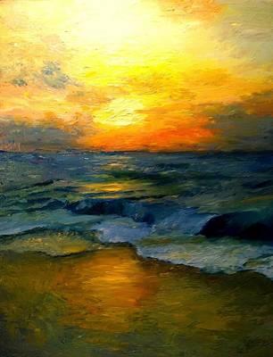 Seaside Sunset Print by Gail Kirtz