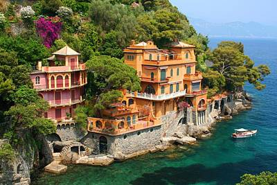 Portofino Italy Photograph - Seaside Villas by Dan Breckwoldt
