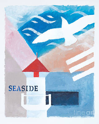 Seagull Mixed Media - Seaside Whiteborder by Lutz Baar