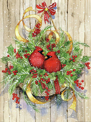 Wreath Painting - Seasons Greetings by Kathleen Parr Mckenna