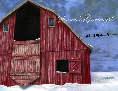 Red Barn In Winter Painting - Season's Greetings- Rustic Red Barn In Winter by Sarah Batalka