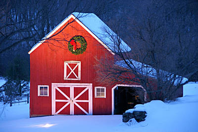 Red Barn. New England Photograph - Seasons Greetings by Thomas Schoeller