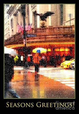 Train In The Winter Photograph - Season's Greetings - Yellow And Blue Umbrella - Holiday And Christmas Card by Miriam Danar