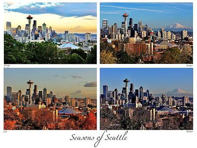 Seattle Skyline Photograph - Seasons Of Seattle White With Titles And Labels by Benjamin Yeager