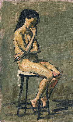 Seated Female Nude / Pensive Original by Thor Wickstrom