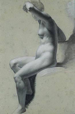 Prudhon Drawing - Seated Female Nude by Pierre-Paul Prudhon