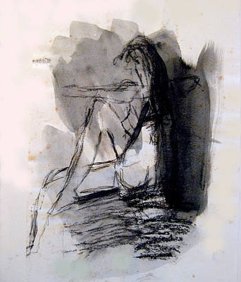 James Gallagher Painting - Seated Figure Ink Wash by James Gallagher