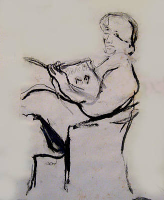 James Gallagher Painting - Seated Figure Reading by James Gallagher