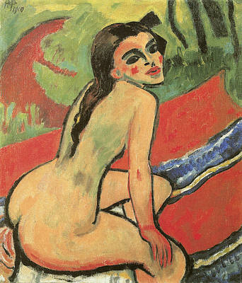 Seated Nude Girl Photograph - Seated Girl by Max Pechstein