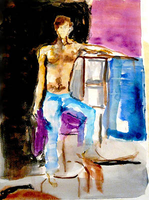 James Gallagher Painting - Seated Male by James Gallagher