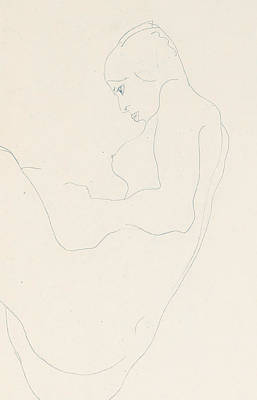 Schiele Drawing - Seated Nude by Egon Schiele