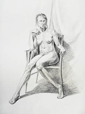 Abstract Forms Drawing - Seated Nude Model Study by Irina Sztukowski