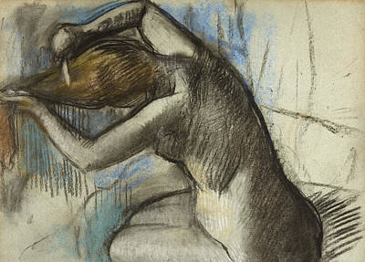 Hair-washing Drawing - Seated Nude Woman Brushing Her Hair by Edgar Degas