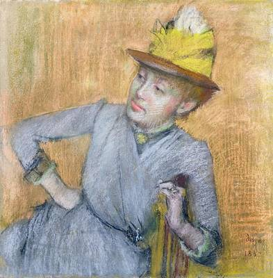 Blue Dresses Pastel - Seated Woman by Edgar Degas