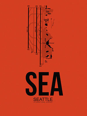 Seattle Mixed Media - Seattle Airport Poster 2 by Naxart Studio