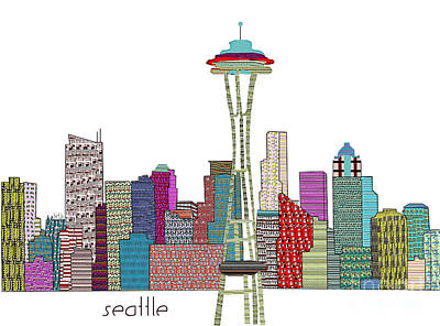 Seattle Skyline Mixed Media - Seattle City  by Bri B