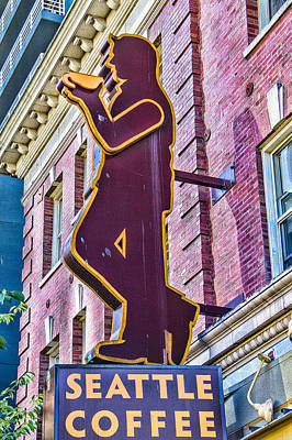 Metal Fish Art Photograph - Seattle Coffee Sign by Steven Bateson