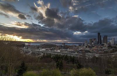Seattle Skyline Photograph - Seattle Dramatic Dusk by Mike Reid