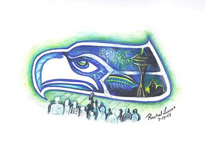 Fireworks Drawing - Seattle Football 3.0 by Rachel Lucas-Bertsch