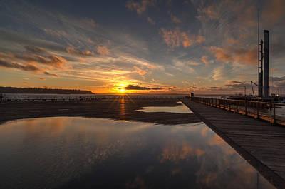 Seattle Skyline Photograph - Seattle Golden Sunstar Sunset by Mike Reid