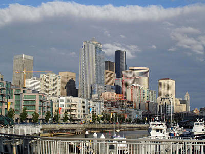 Seattle Harbor View Print by Linda Mans