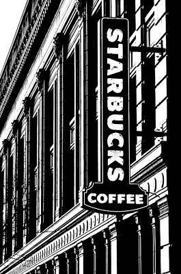 Starbucks Coffee Photograph - Seattle Icon Black And White by Benjamin Yeager