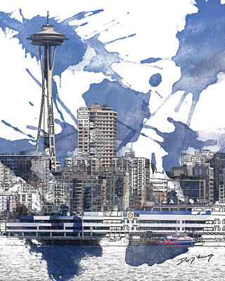 Seattle Skyline Painting - Seattle Line And Splatter by David Wagner
