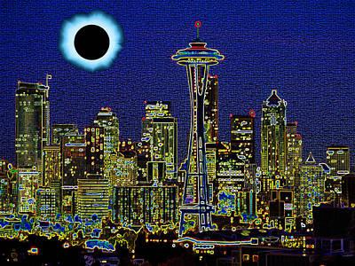 Solar Eclipse Digital Art - Seattle On A Dark Day by Bruce Iorio