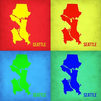 City Map Painting - Seattle Pop Art Map 1 by Naxart Studio