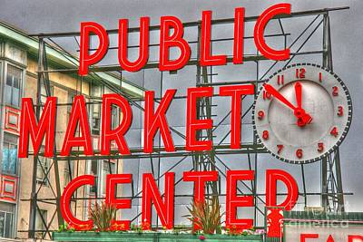Seattle Public Market Center Clock Sign Print by Tap On Photo
