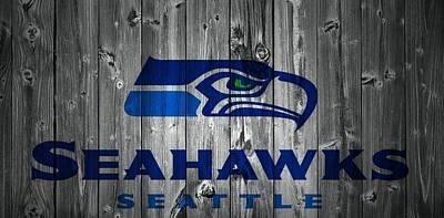 Nfl Mixed Media - Seattle Seahawks Barn Door by Dan Sproul