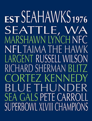 Seattle Seahawks Print by Jaime Friedman