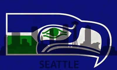Seattle Seahawks On Seattle Skyline Print by Dan Sproul