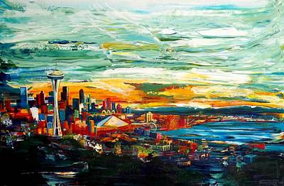 Seattle Skyline Painting - Seattle Sky by Suzanne King