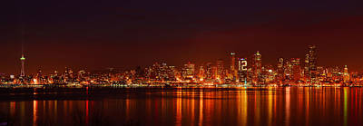 Seattle Skyline For 12th Man Print by Abhay P