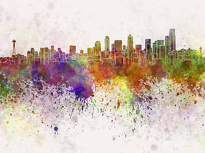 Seattle Skyline Painting - Seattle Skyline In Watercolor Background by Pablo Romero