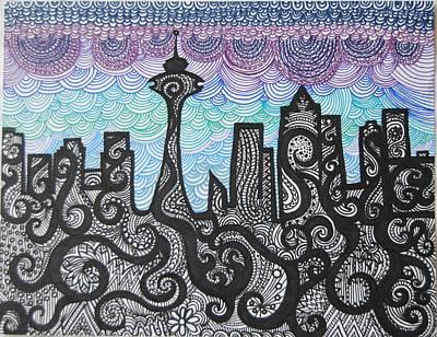 Seattle Skyline Drawing - Seattle Skyline by Ivory Bean