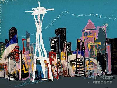 Seattle Digital Art - Seattle Skyline by Jennifer Wu