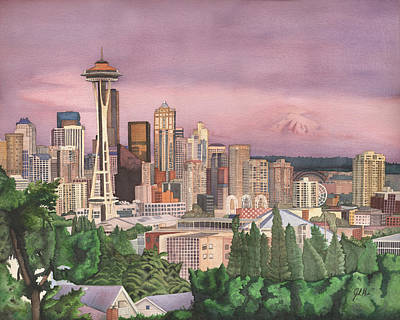 Seattle Skyline Painting - Seattle Skyline by Josh Marks