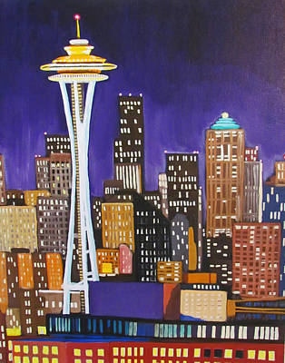 Seattle Skyline Original by Kevin Hughes