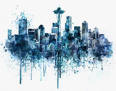 Seattle Skyline Monochrome Watercolor Print by Marian Voicu