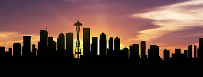 Seattle Skyline Panorama Sunset Print by Aged Pixel