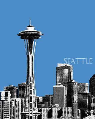 Seattle Skyline Digital Art - Seattle Skyline Space Needle - Slate Blue by DB Artist