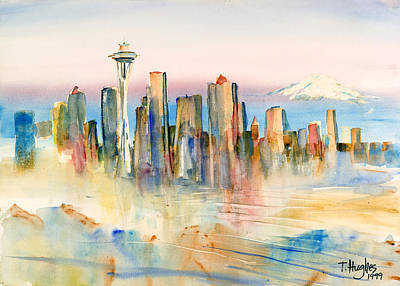 Queen Anne Painting - Seattle Skyline by Thomas Hughes